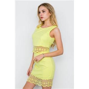 YELLOW CROP TOP HIGH WAIST MINI SKIRT SET