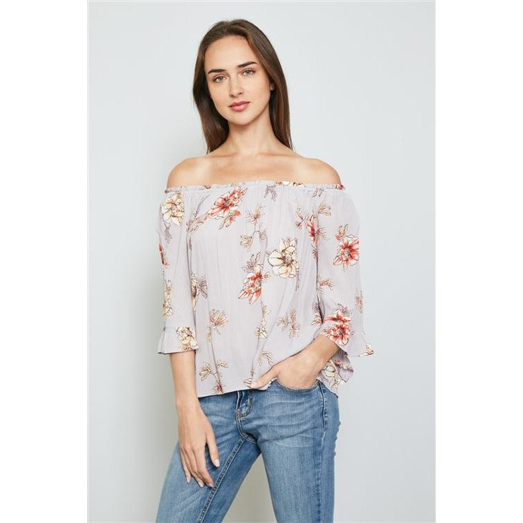 LAVENDER AND FLORAL PRINT OFF THE SHOULDER FLOWY TOP