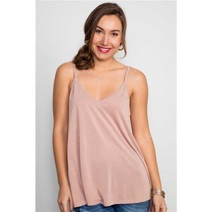 Mauve Soft Solid Braided Strap Tank Top