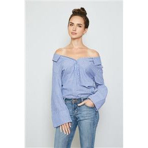 Blue Stripe Print Off The Shoulder Button Down Top - New2You Lx