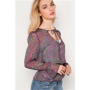 Lilac Floral Print Sheer Long Sleeve Top