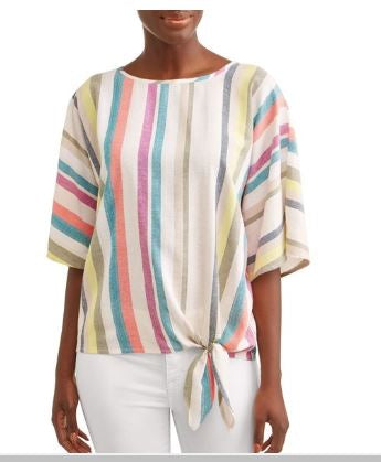 Time & Tru Striped Short Sleeve Blouse