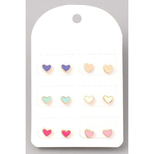 Enamel Heart Stud Earrings Set