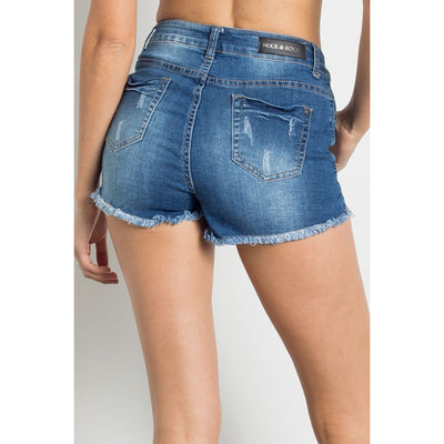 Medium Wash Distressed High Waist Shorts