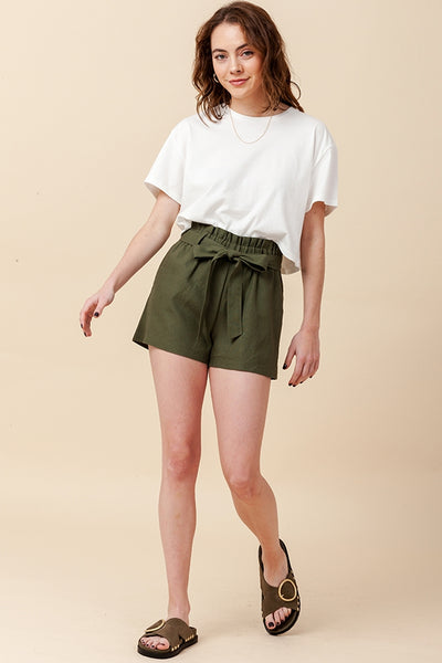 Front Tie Paper Bag Linen Shorts New2YouLX New2You Lx