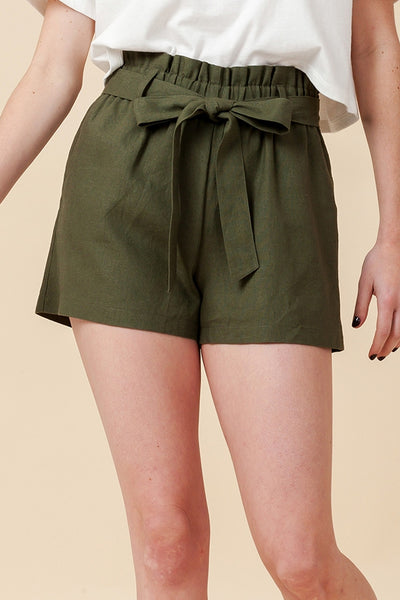 Front Tie Paper-Bag Woven Linen Shorts (New2YouLX)