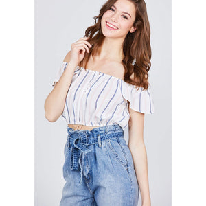 Ruffle Sleeve Off The Shoulder Button Down Crop Top