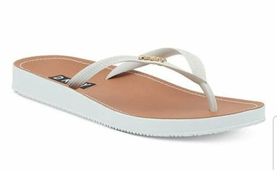 DKNY Madi Cream/Brown Rubber Flip/Flop Sandals