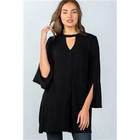 BLACK DOUBLE KEYHOLE BUTTON DOWN MINI TOP - New2You LX