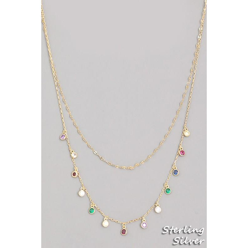 Multi Color Dainty Gems Necklace