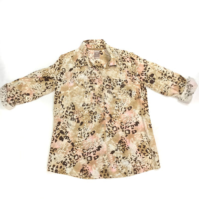 White Stag Leopard Print Button Up Blouse