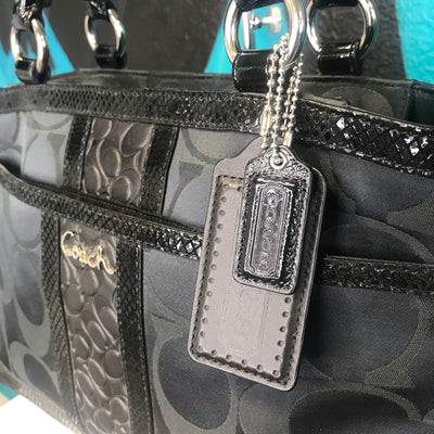 Coach Park Signature Stripe Carryall Black Purse