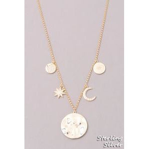 Gold Necklace With Moon & Star (Fame Accessories) - New2Youlx