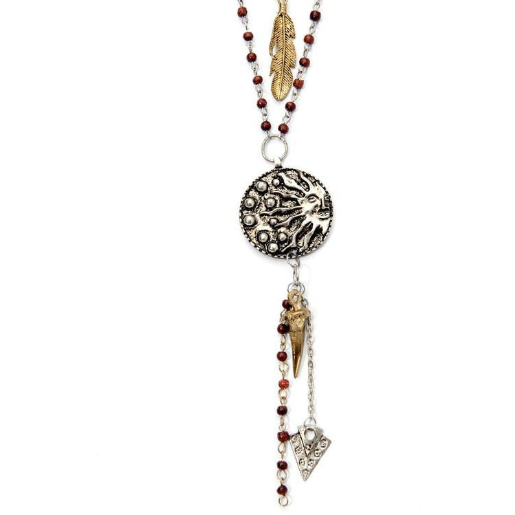 Multi Layer Moon Medallion Necklace