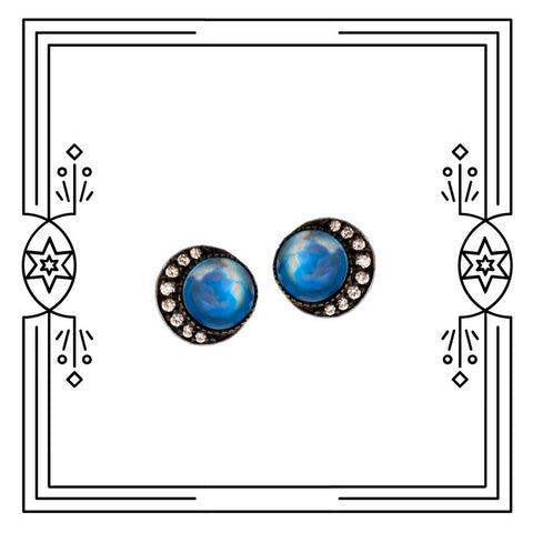 SMALL FULL BLUE MOON EARRINGS - AVAILABLE FOR IMMEDIATE SHIPMENT.