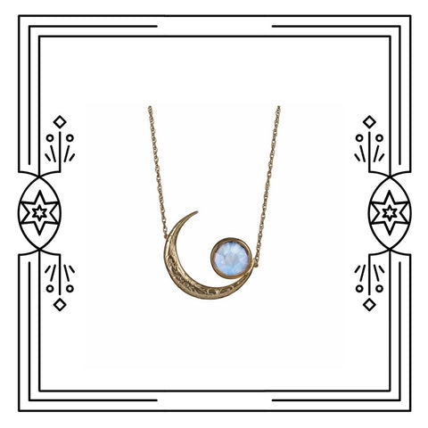 BIG MOON CRADLE NECKLACE - AVAILABLE FOR IMMEDIATE SHIPMENT.