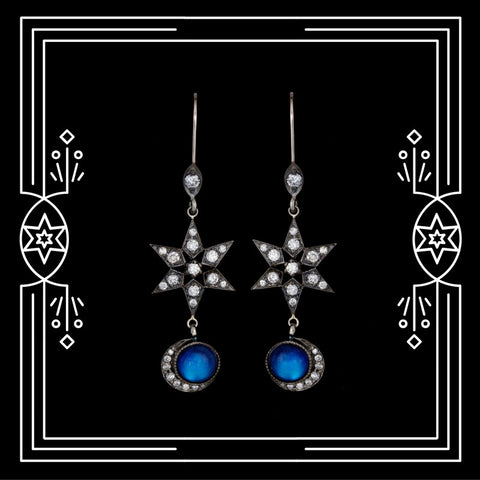 CELESTIAL MOON EARRINGS - AVAILABLE FOR IMMEDIATE SHIPMENT.