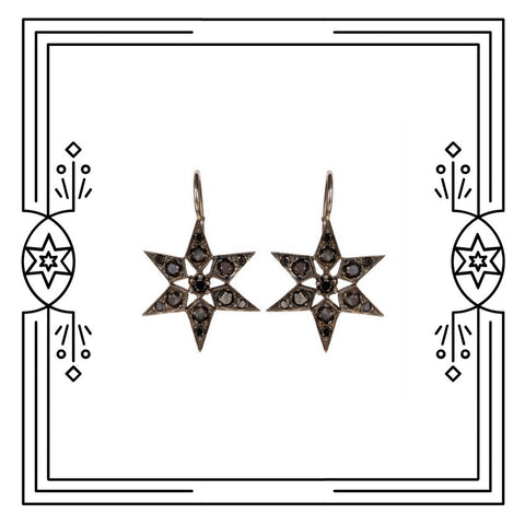 FANCY STAR EARRINGS - BLACK DIAMONDS - AVAILABLE FOR CUSTOM ORDER