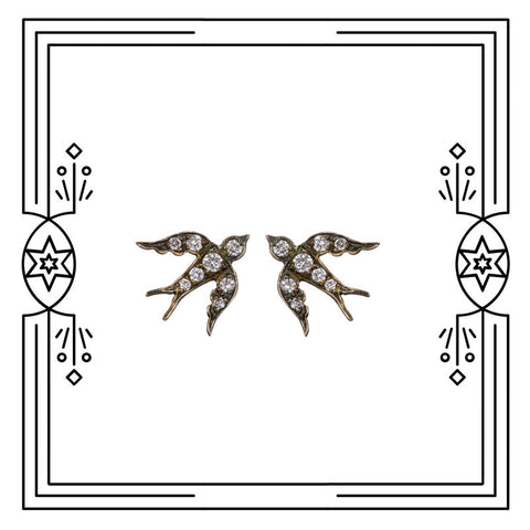 BIRD STUDS - ANTIQUE PLATED, WHITE GOLD, DIAMONDS - AVAILABLE FOR CUSTOM ORDER