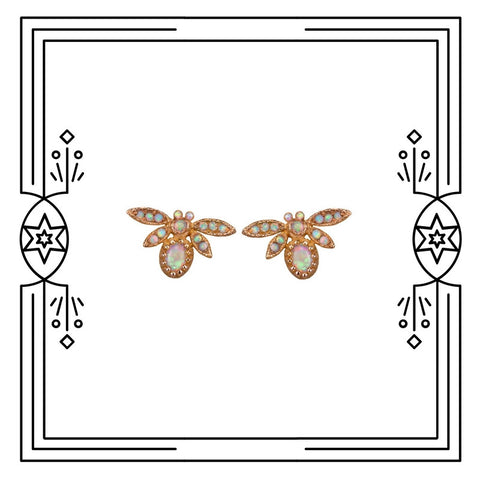 FANCY BUG EARRINGS - ROSE GOLD AND OPAL - AVAILABLE FOR IMMEDIATE SHIPMENT