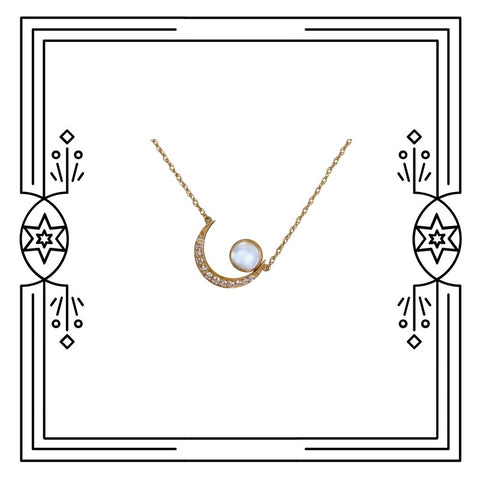 Medium Moon Cradle Necklace - Available for Custom Order.