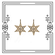 Load image into Gallery viewer, FANCY STAR EARRINGS - YELLOW GOLD, DIAMONDS