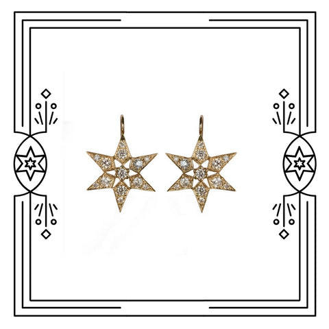 FANCY STAR EARRINGS - 14K YG/ANTIQUE PLATE/DIAMONDS - AVAILABLE FOR IMMEDIATE SHIPMENT