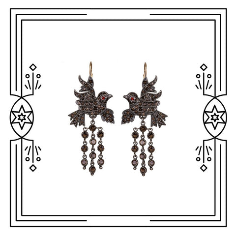 BAROQUE BIRD EARRINGS - AVAILABLE FOR IMMEDIATE SHIPMENT