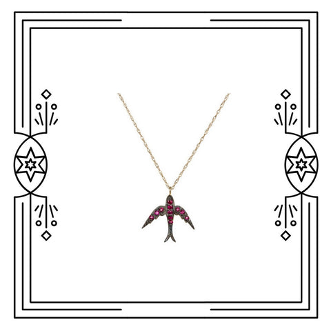 FANCY BIRD NECKLACE - ANTIQUE PLATED GOLD, RUBIES - AVAILABLE FOR CUSTOM ORDER