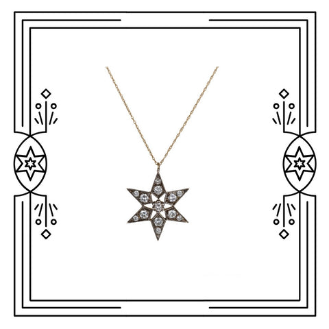 FANCY STAR NECKLACE - DIAMONDS - AVAILABLE FOR IMMEDIATE SHIPMENT