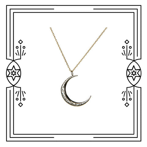 BIG ENGRAVED CRESCENT MOON NECKLACE - AVAILABLE FOR CUSTOM ORDER