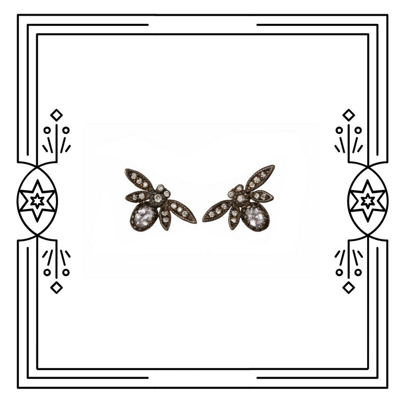 FANCY BUG EARRINGS, ANTIQUE PLATED, WHITE GOLD (PRE-ORDER)