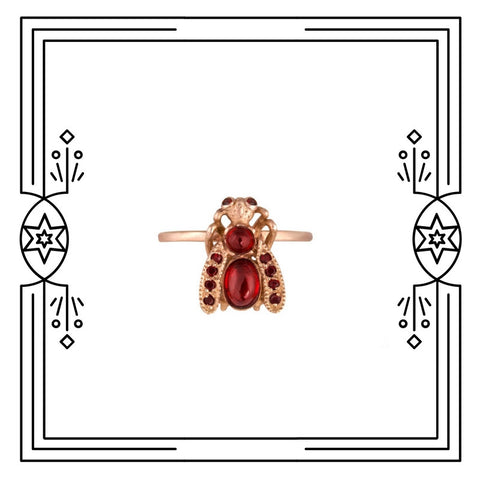 GARNET BUG RING - AVAILABLE FOR CUSTOM ORDER