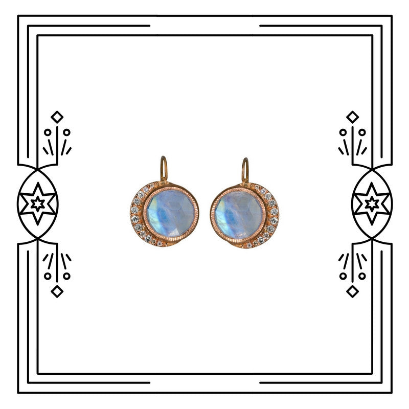 BIG FULL MOON DANGLE EARRINGS, ROSE GOLD, MOONSTONE (PRE-ORDER)