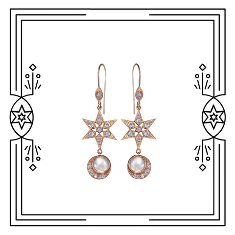 CELESTIAL MOON EARRINGS - ROSE GOLD, MOONSTONE, DIAMONDS - AVAILABLE FOR CUSTOM ORDER