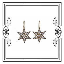 Load image into Gallery viewer, FANCY STAR EARRINGS - ANTIQUE PLATED GOLD, DIAMONDS