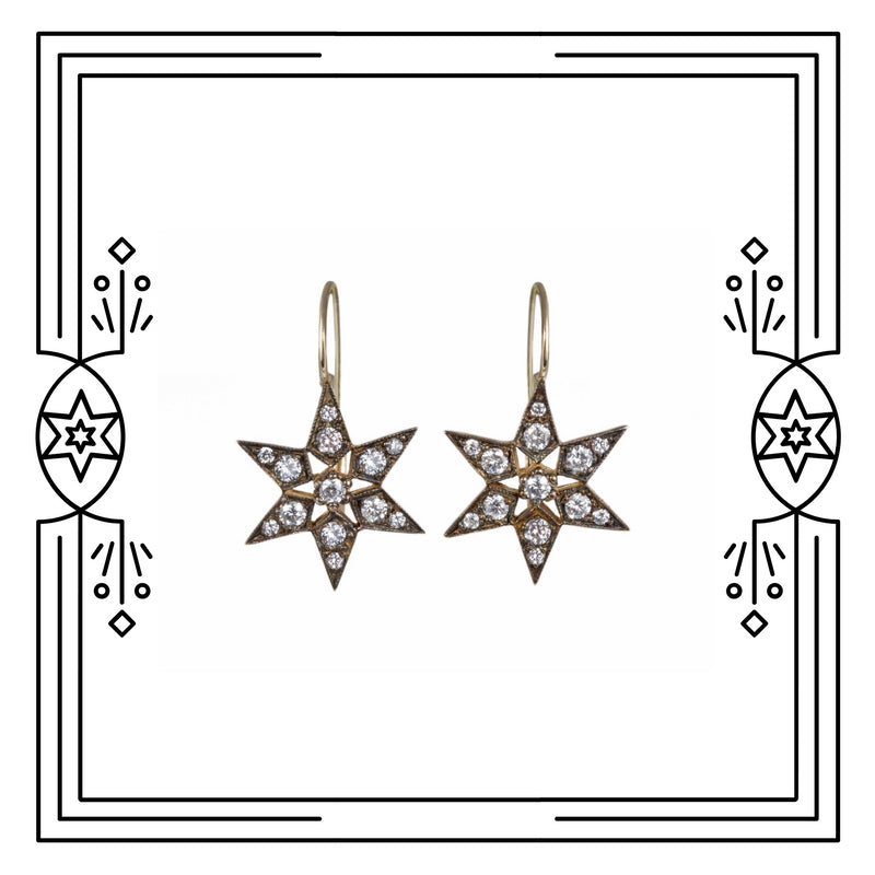 FANCY STAR EARRINGS - ANTIQUE PLATED GOLD, DIAMONDS