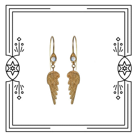 WING EARRINGS WITH MOONSTONE - AVAILABLE FOR IMMEDIATE SHIPMENT