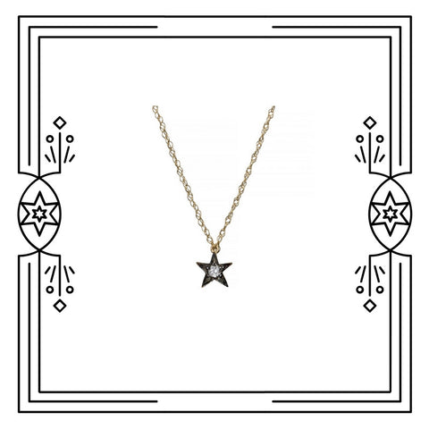 TINY STAR NECKLACE - ANTIQUE PLATED GOLD, DIAMOND - AVAILABLE FOR CUSTOM ORDER