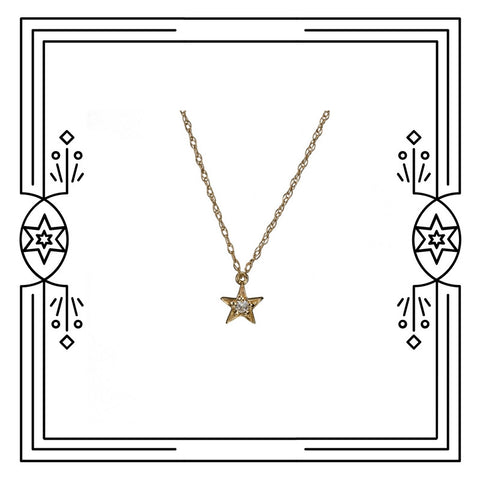 TINY STAR NECKLACE - GOLD, DIAMOND, available for immediate shipment