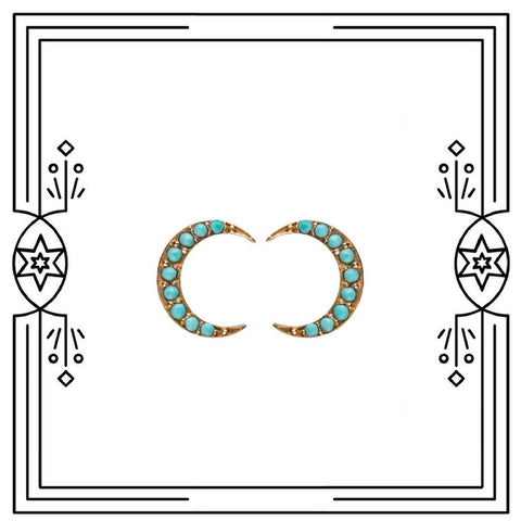 CRESCENT MOON STUD EARRINGS - ROSE GOLD, PERSIAN TURQUOISE - AVAILABLE FOR IMMEDIATE SHIPMENT