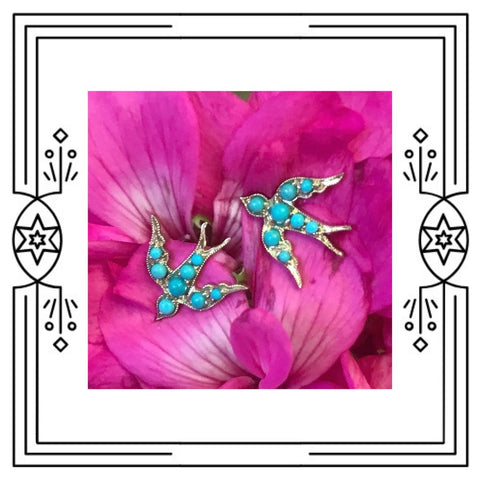 BIRD STUD EARRINGS - YELLOW GOLD AND TURQUOISE