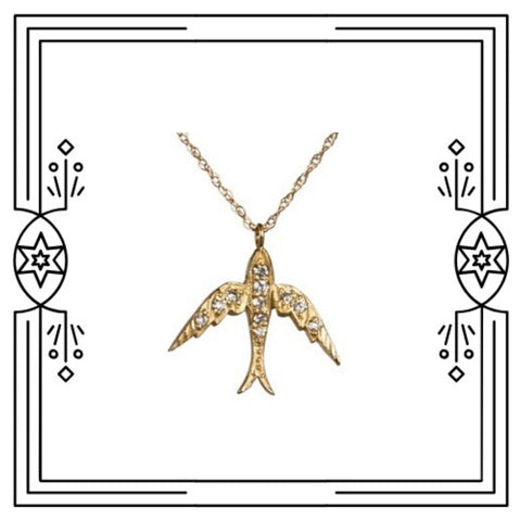 FANCY BIRD NECKLACE - YELLOW GOLD, DIAMONDS
