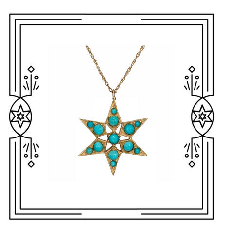 FANCY STAR NECKLACE - PERSIAN TURQUOISE - AVAILABLE FOR IMMEDIATE SHIPMENT