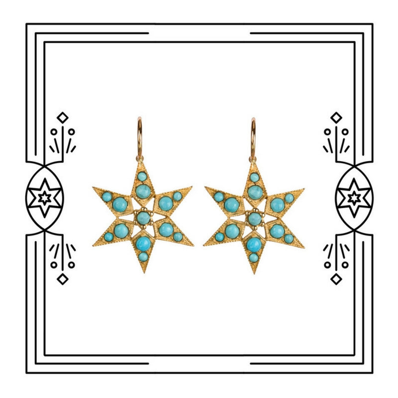 FANCY STAR EARRINGS, TURQUOISE (PRE-ORDER)