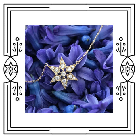 FANCY STAR NECKLACE - 14K YG, DIAMONDS