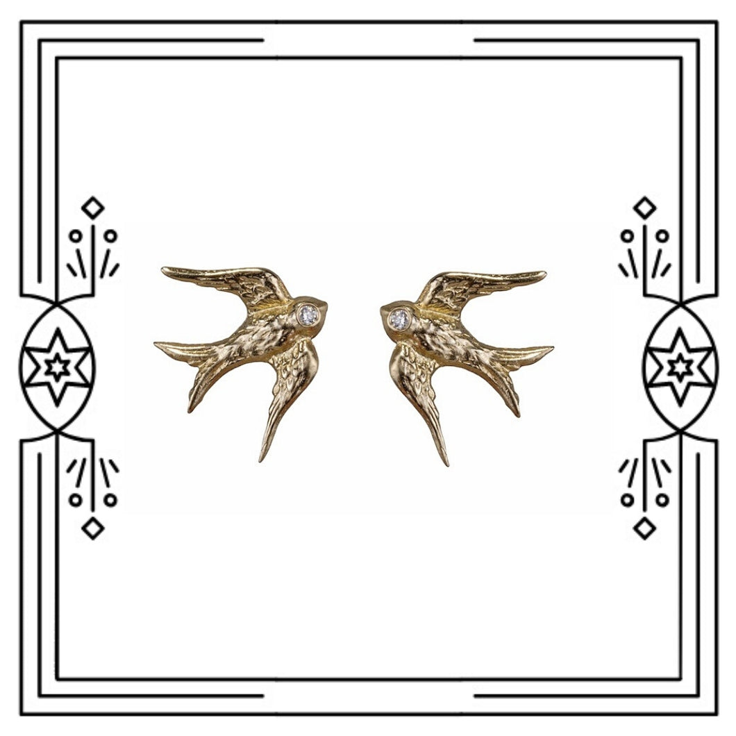HAND CARVED BIRD STUD EARRINGS - 14k YELLOW GOLD, DIAMONDS