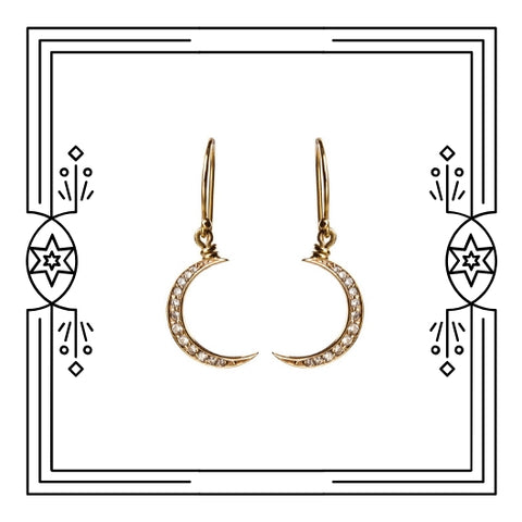 BIG CRESCENT MOON DANGLE EARRINGS
