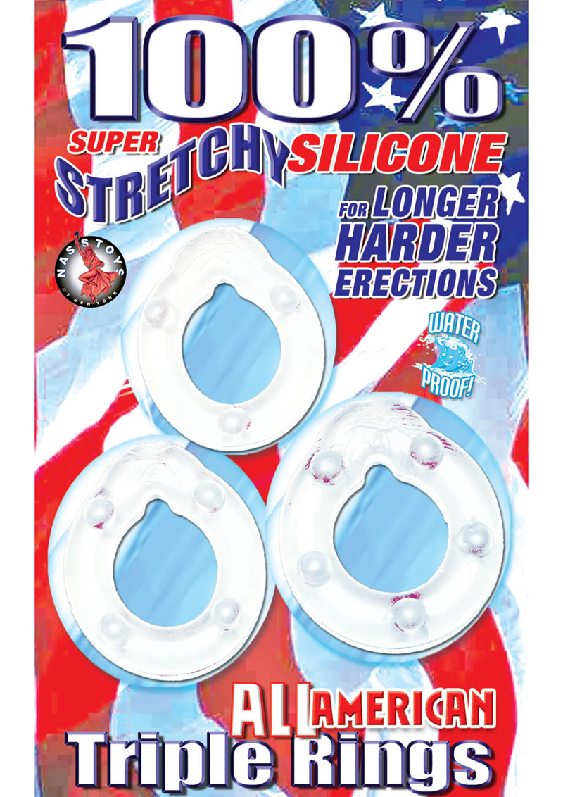 All American Triple Rings Silicone Cockrings Waterproof Clear