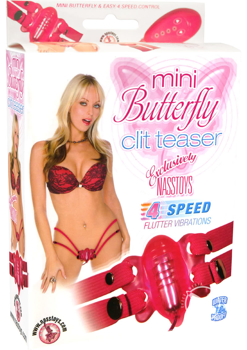 Mini Butterfly Clit Teaser With Waist and Thigh Straps - Pink